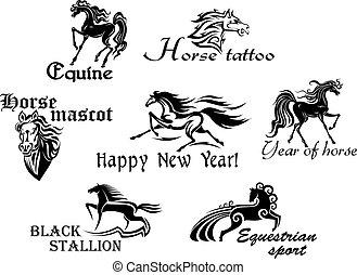 cavalos, pretas, mascotes