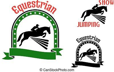 cavalos, símbolos, pular, desporto, eqüestre