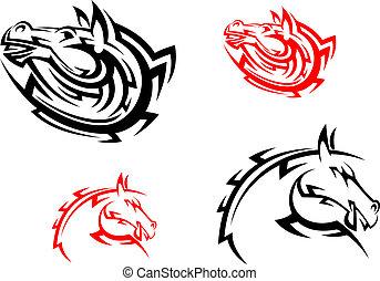 cavalos, tribal, preto vermelho, mascotes