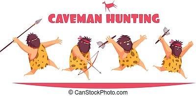 caveman, conceito, desenho, caça