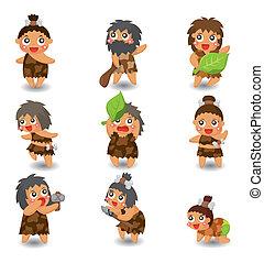 caveman, jogo, ícone, vetorial, caricatura