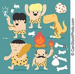 caveman, jogo, caricatura, ilustração