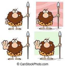caveman, macho, -, 3, cobrança