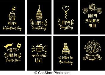 celebração, vetorial, cartões, ouro, jogo