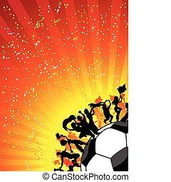 celebrando, enorme, futebol, torcida, game.