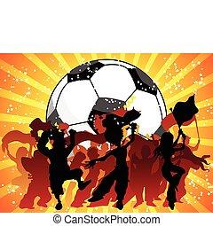 celebrando, game., torcida, futebol, enorme
