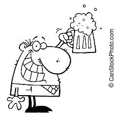 celebrando, homem, cerveja, quartilho
