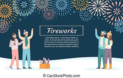 celebrando, ilustração, feriados, fireworks., fogo artifício, observar, amigos, vetorial, pessoas, lançando, grupo, explosões