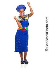celebrando, mulher, africano