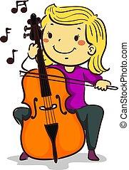 cello, criança, figura vara, tocando
