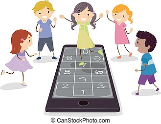 cellphone, jogo, crianças, stickman, hopscotch