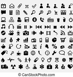 cem, vetorial, ícones