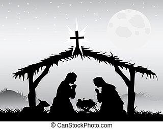 cena natividade, vetorial