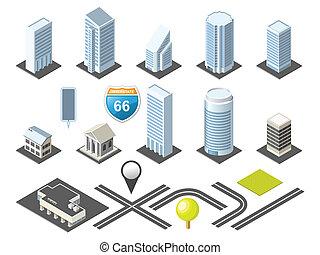 centro cidade, mapa, isometric, toolkit