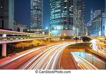 centro cidade, noturna, tráfego, área