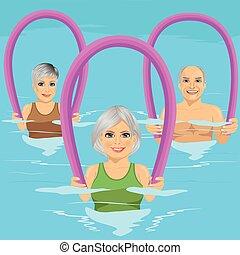 centro, espuma, aqua, lazer, piscina, aeróbica, condicão física, sênior, rolos, classe, pessoas, natação