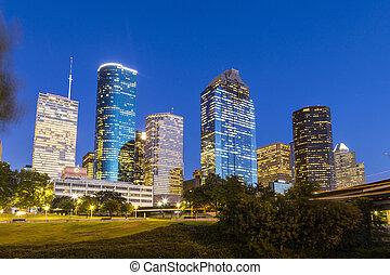 centro houston cidade, vista, noturna