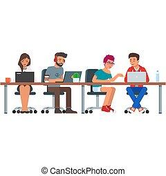 centro, pessoas, coworking, escritório, ilustração, vetorial, branca