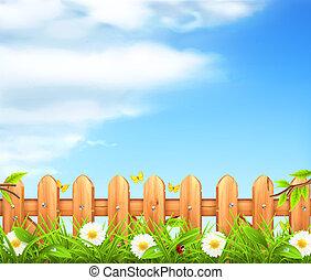 cerca, madeira, primavera, fundo, vetorial, capim