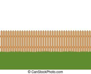 cerca, madeira, seamless, isolado, experiência verde, branca, capim