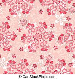 cereja, abstratos, flores, padrão