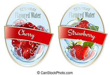 cereja, bagas, fruta, jogo, strawberry., etiquetas, flavored, water., vector.