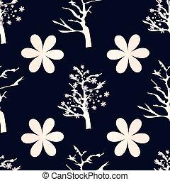 cereja, ilustração, flores