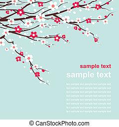 cereja, ramos, flor, cartão
