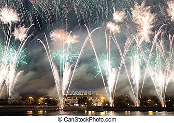 cerimônia, abertura, moscou, fogos artifício, luzhniki, 14th, campeonatos, dique, estádio, russia., mundo, atletismo, rio, moskva