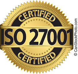 certificado, etiqueta, 27001, dourado, iso, v