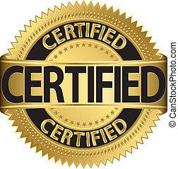 certificado, etiqueta, vetorial, dourado, illu