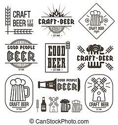 cerveja, arte, cervejaria, emblemas