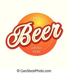 cerveja, arte, lettering, sinal, etiqueta