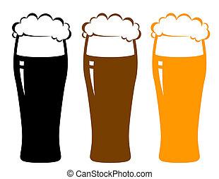 cerveja, espuma, coloridos, óculos