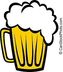 cerveja, refrescar, espumoso, quartilho
