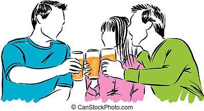 cerveja, tempo, bebendo, il, amigos, partido