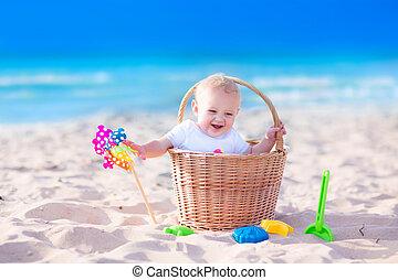 cesta, bebê, praia