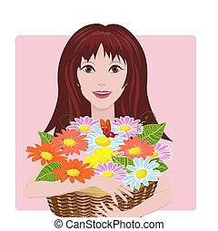 cesta, menina, flores