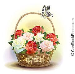 cesta, vime, aniversário, roses., card.
