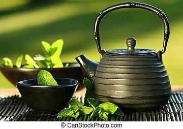 chá, hortelã, asiático, bule, pretas