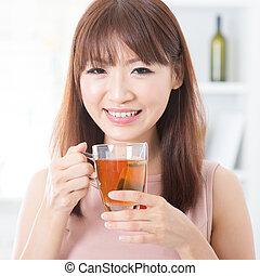 chá, menina, desfrutando, asiático