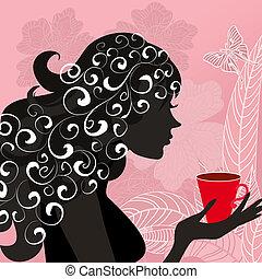 chá, menina, flor