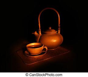 chá, noite, ainda-vida