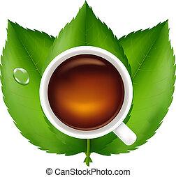 chá sai, verde, copo