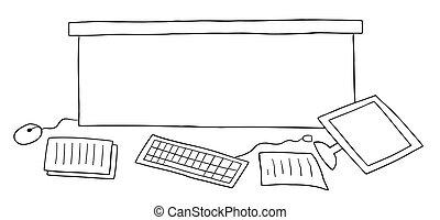 chão, caricatura, vetorial, sujo, papeis, ilustração, escrivaninha escritório, computador
