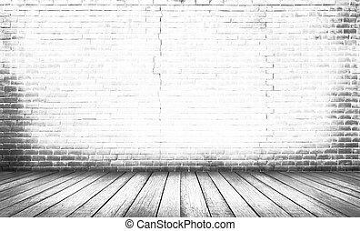 chão, madeira, fundo branco, parede, tijolo