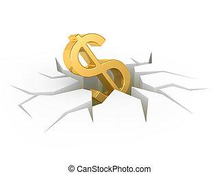 chão, terra, fenda, sinal dólar