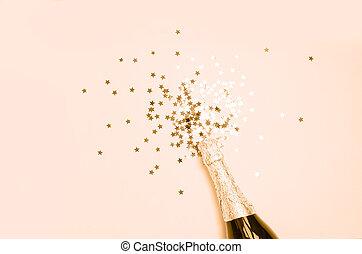 champanhe, explosão, close-up