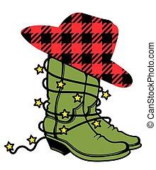 chapéu branco, búfalo, ilustração, vetorial, xadrez, botas, silueta, país, isolado, lights., boiadeiro, natal