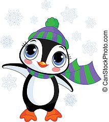 chapéu, inverno, pingüim, s, cute